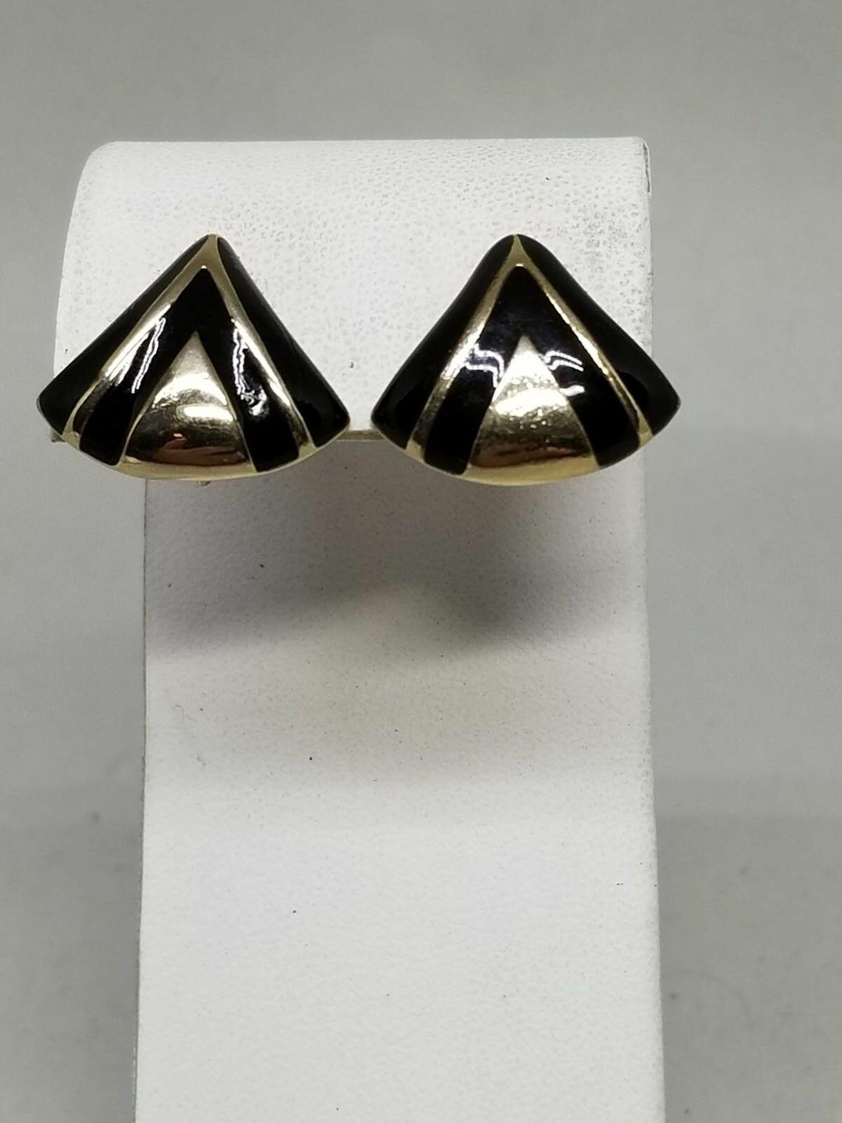 Avon Gold Tone and Black Enamel Vintage Clip On Earrings