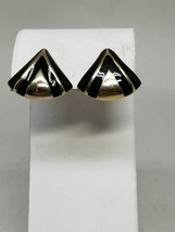 Avon Gold Tone and Black Enamel Vintage Clip On Earrings - $17.99