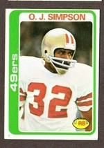 1978 TOPPS FOOTBALL #400 O.J.SIMPSON (HOF) CARD- SAN FRANCISCO 49ERS - $6.88