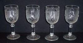 "4 IRIS & HERRINGBONE 8 oz Clear Water Goblet Bar Glasses 5 3/4"" JEANETTE... - $31.68"
