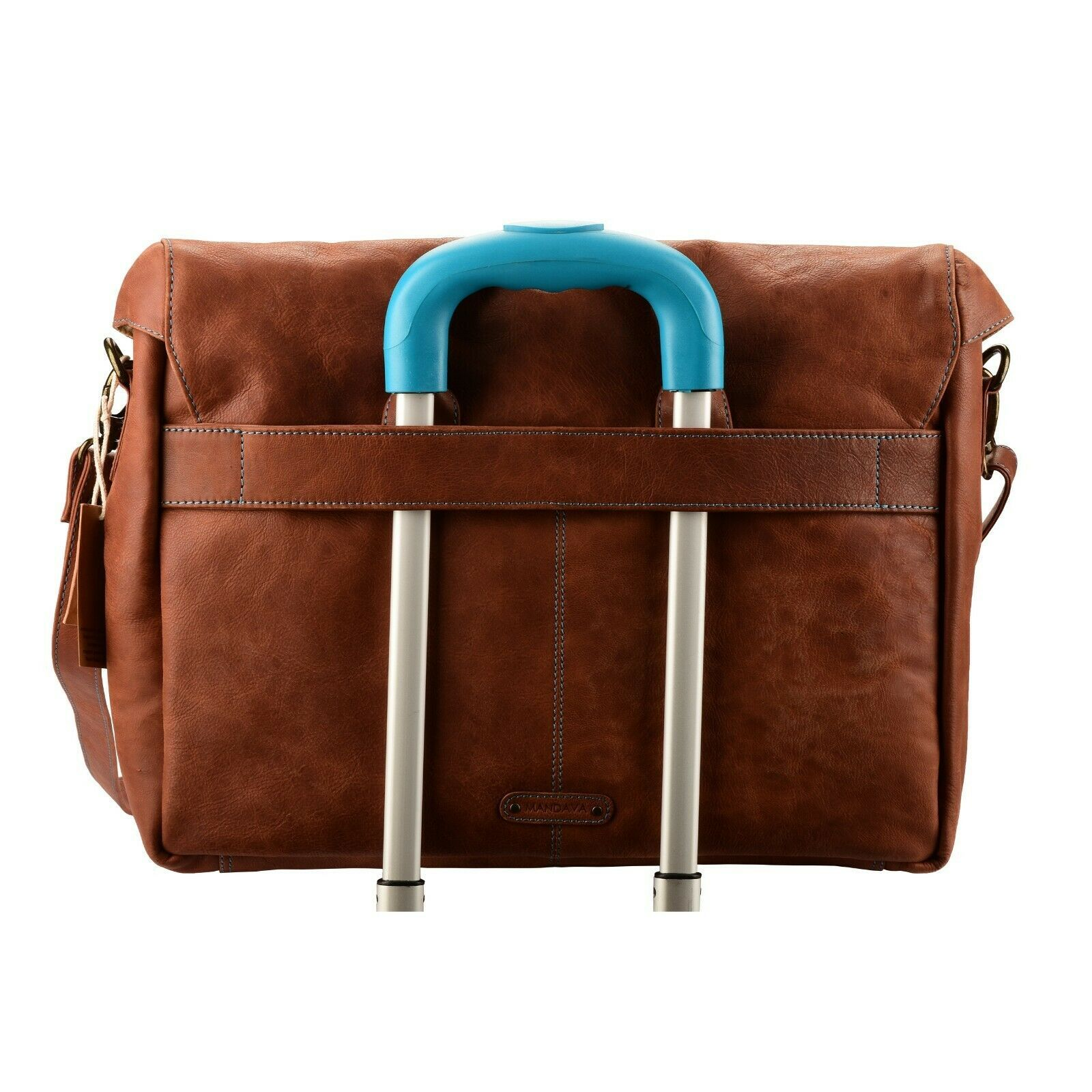15 Inch Laptop Handmade Leather Messenger Bag Flap Over Office Briefcase