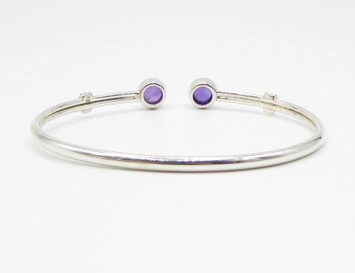 925 Sterling Silver - Amethyst Gemstone Cuff Bracelet - B1443