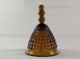 Viking Glass Brown Hobnail Hand Bell with Clapper 7925, Dark Amber Glass... - $31.00