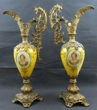 Important pair of antique Victorian mantle ewers hand painted portrait m... - $780.00