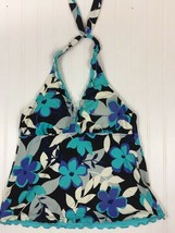 Women's Blue Floral Tankini Swimwear Top Only Halter Floral Size M misc18 - $11.19