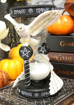 "7""H Awaken Your Magic Snowy Owl Grasping Pentagram Pendant Sand Timer Fi... - $41.99"