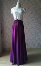 PLUM PURPLE Chiffon Maxi Skirt Purple Wedding Chiffon Skirt (US0-US30) image 4