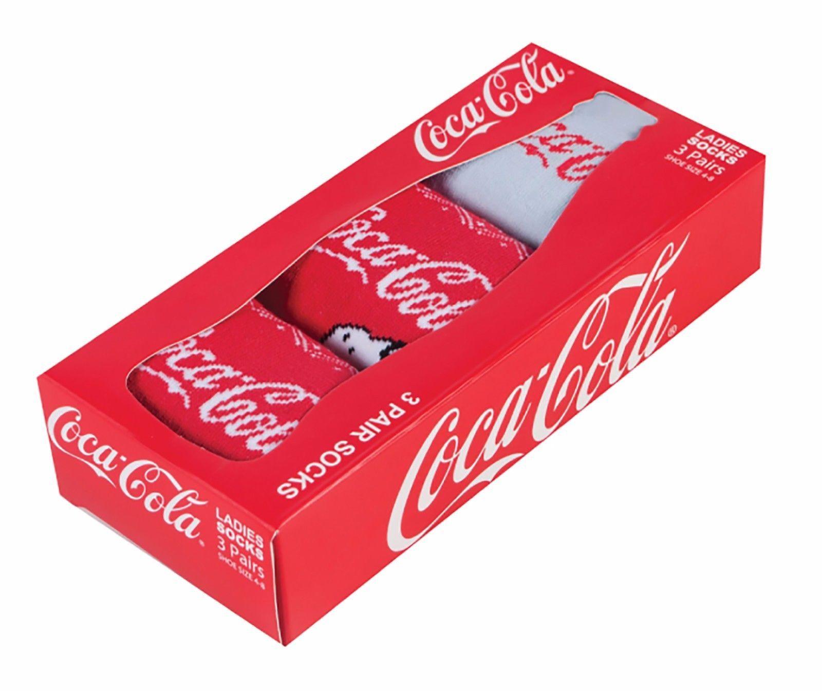 Coca Cola - 3 Pack Women Mens Patterned Novelty Cotton Xmas Christmas Crew Socks