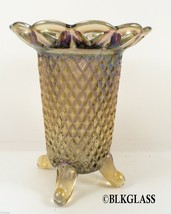Imperial Carnival Glass Hatpin Holder 4 toe Open Edge Lace Edge Vase 1960s - $24.99