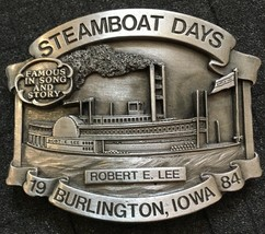 1984 Steamboat Days Robert E Lee Steam Ship Iowa #428/1000 Pewter Belt B... - $19.64