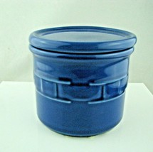 """Longaberger Pottery Woven Traditions Blue Lidded Crock Canaster Dish 4"""" - $24.70"""