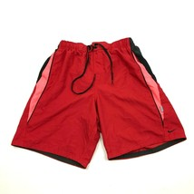 VINTAGE Nike Swim Trunks Men's Size Medium M Red Swimsuit Embroidered Le... - $23.23