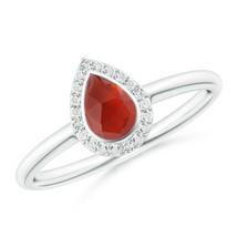 0.57Ctw Bezel-Set Pear-Shaped Garnet Ring with Diamond Halo 14K Gold - $485.10