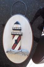 Lighthouse Sign Nautical Decor wooden wall decor bar pub beach plaque oval - $40.79