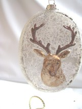 Large Glass Oval Disc  Stag Head Christmas  Ornament  Raised Head Vintage Style - $14.80