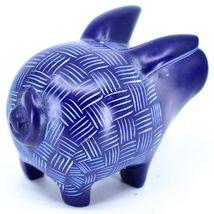 Tabaka Chigware Hand Carved Kisii Soapstone Dark Blue Pig Figure Made in Kenya image 3