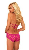 NEW LEG AVENUE WOMEN'S PREMIUM SEXY STRETCH LACE V HALTER TEDDY PINK 81375 image 2
