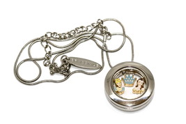 Bracciale Disney Round Locket Necklace Floating Crown Princess Floating Charms - $24.74