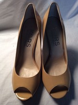Authentic Michael Kors Michael Nude Leather Peep Toe Size 7.5M - $29.70