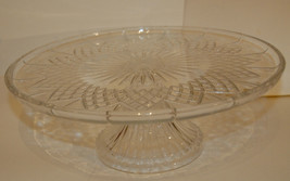 "CRYSTAL PEDESTAL GLASS CAKE PLATE 12"" WIDE CLEAR STAR DIAMOND VINTAGE VG... - $69.99"