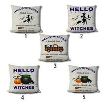 Halloween Farmhouse Pillows - Autumn Home Decor - Hello Witches Typograp... - $16.99