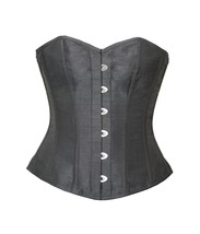 Plain Black Silk  Gohtic Burlesque Waist Training Basque Overbust Corset  - $55.77