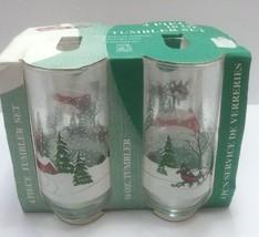 BALI 4 PIECE 16 OZ TUMBLER SET GLASS CHRISTMAS tree HOLIDAY SLEIGH RIDE ... - $19.99