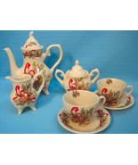 Lily Creek Woodland Joy 9 Piece Tea Set Christmas Holiday Porcelain Red ... - $49.95