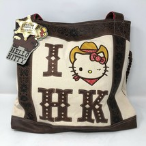 NWT Loungefly Sheriff Hello Kitty Western Shoulder Tote Handbag Natural ... - $123.74