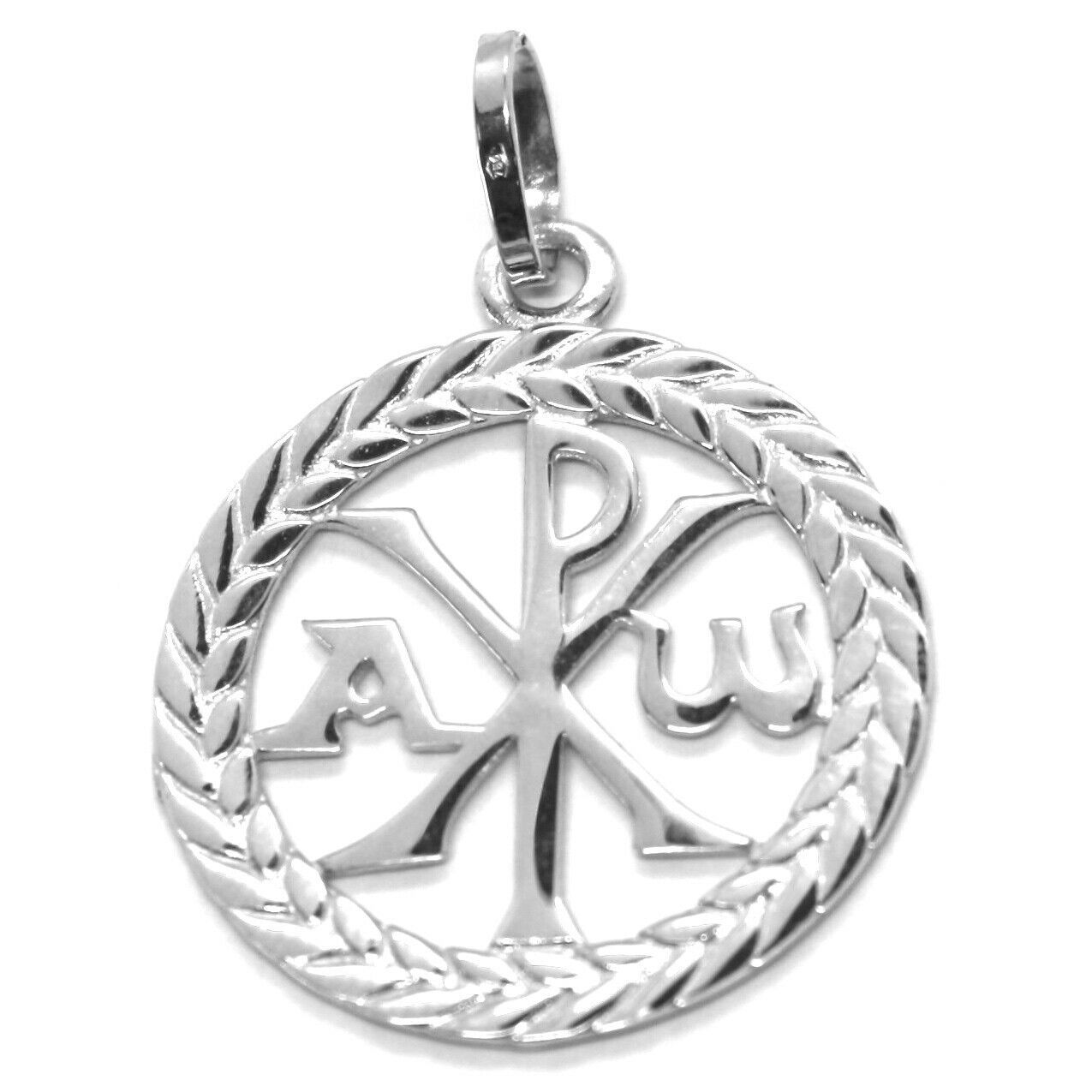 SOLID 18K WHITE GOLD MONOGRAM OF CHRIST PENDANT, PEACE, MEDAL, 0.95 INCHES