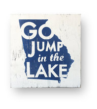 **Rustic Wooden Sign-Georgia Map-Go Jump In The Lake-Approx 14 x 16 - It... - $37.00