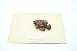 Anne Rice Saranac Ceramics Painted Purple Fish Pin Brooch Vintage - $24.74