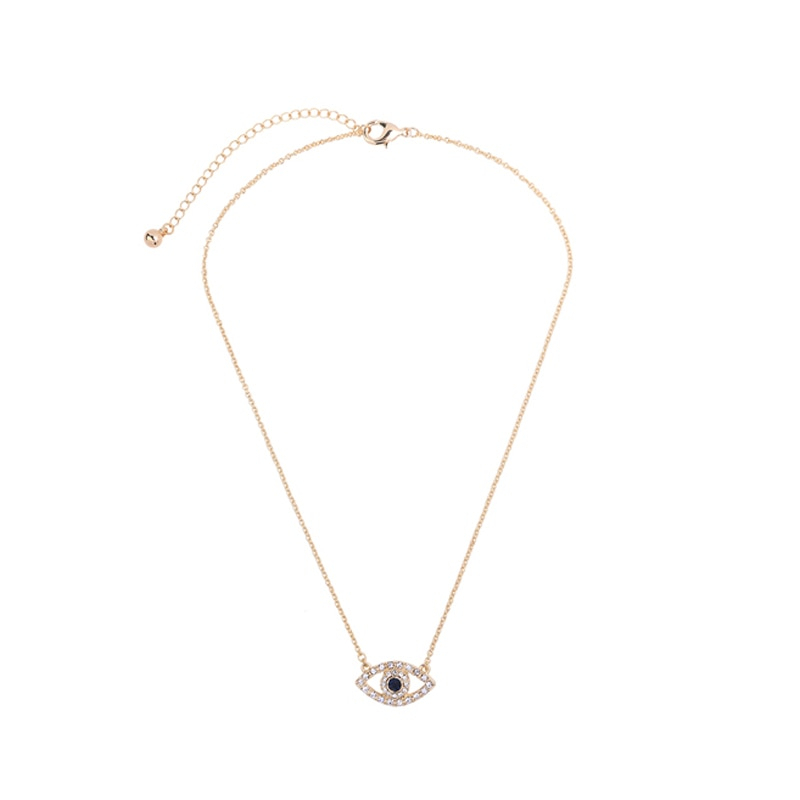 new fashion gold color chain crystal eye pendant necklace for girls holiday jewelry wholesale 1