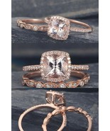 Cushion Cut Moraganite & Cz Diamond Bridal Wedding Womens Ring Set 925 S... - $99.99