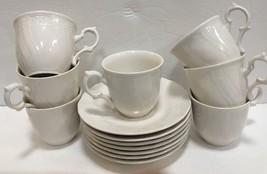 """Mikasa """"Renaissance"""" 7 White Cups & Saucers Set Japan - $59.39"""