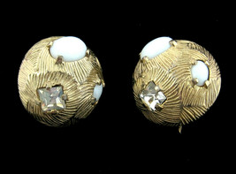 CASTLECLIFF Square Rhinestone EARRINGS Vintage Clip On Milk Glass Cabs G... - $12.99