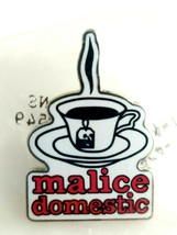 Malice Domestic Skull Tag Teabag Teacup Saucer Silver Tone Enamel Pin My... - $11.14