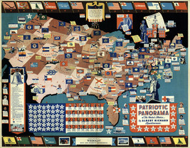 """Midcentury Map Patriotic Panorama USA Emblems Flags Coats-of-Arms School 11""""x14"""" - $12.50"""