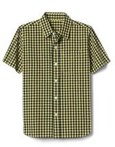 Gap Kids Boy Shirt 10 Short Sleeve Yellow Black Gingham Plaid Cotton But... - $19.99