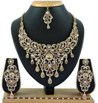 White Lct Indian Bollywood Fashion Bridal Wedding Gold Plated Diamond Necklace - $35.40