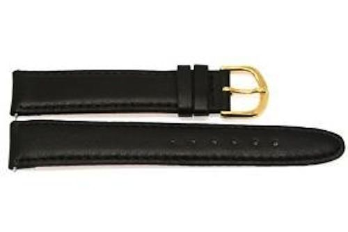 Primary image for 18MM BLACK SMOOTH GENUINE LEATHER WATCH BAND STRAP GOLD STEEL BUCKLE FITS SEIKO