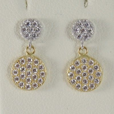 YELLOW GOLD EARRINGS WHITE 750 18K HANGING 1.4 CM DOUBLE CIRCLE WITH ZIRCON
