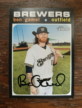 x1 2020 Topps Heritage Base #157 Ben Gamel Milwaukee Brewers Baseball Ca... - $1.99