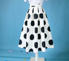 White A-Line Polka Dot Midi Skirt High Waisted Polka Dot Party Skirt Plus Size image 4