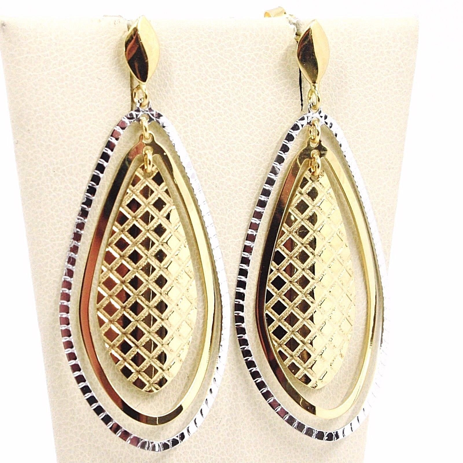 BOUCLES D'OREILLES PENDANTES OR JAUNE BLANC 750 18K,TRIPLE GOUTTE,MADE IN ITALY