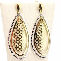 BOUCLES D'OREILLES PENDANTES OR JAUNE BLANC 750 18K,TRIPLE GOUTTE,MADE IN ITALY image 1