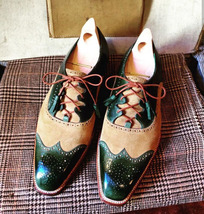 Handmade Men's Beige Suede and Green Leather Wing Tip Brogues Lace Up Shoes image 5