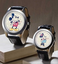 Disney's Mickey or Minnie Vintage Style Watches with Black Faux Leather ... - $22.88
