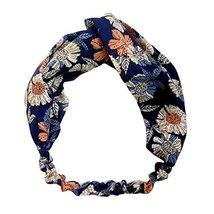 Navy Blue Flower Nylon Head Wrap Headband Vintage Elastic Hairband Hair Accessor image 1