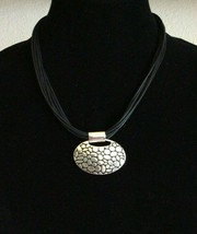 Napier Black and Silver Leather Cord Style Choker Necklace Pebble Design Pendant - $19.79